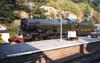 Ex-GWR Castle class 4-6-0 no 5029 <I>Nunney Castle</I>, stands in the sunshine at Bewdley in September 1997.<br><br>[Colin Miller 22/09/1997]