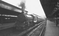 B1 4-6-0 no 61244 <I>'Strang Steel'</I> prepares to leave Glasgow Buchanan Street station with the 5.36pm train for Dunblane on the last day of August 1965.<br><br>[K A Gray 31/08/1965]