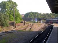 The sad remains of the tracks leading into the former Bath Road shed (82A), seen from the platform at Temple Meads station in May 2012. The depot finally closed in September 1995 when remaining operations were transferred to St Philip's Marsh.  [See image 20985]<br><br>[Ken Strachan 27/05/2012]