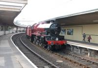 Restored 'Jubilee' 4-6-0 no 45699 <I>Galatea</I> at Carnforth station on 8 April 2013 prior to undertaking an initial test run to Hellifield [See image 59244] [see news item]. <br><br>[Mark Bartlett 08/04/2013]