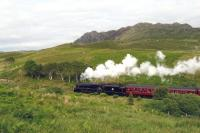 <I>Black 5</I> 44871 heading the afternoon <I>Jacobite</I> towards Mallaig in June 2013 amidst scenery typical of the western end of this line. <br><br>[Malcolm Chattwood 26/06/2013]
