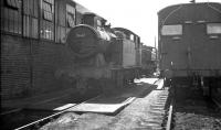 Collett ex-GWR 0-6-2T no 5647 stabled alongside Abercynon shed in the summer of 1960.<br><br>[K A Gray 12/08/1960]