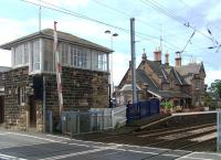 The station building and signal box at Chathill on 30 August 2013 seen looking north from the level crossing.<br><br>[Colin Alexander 30/08/2013]