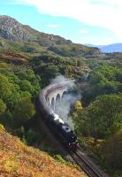 62005 crosses Arnabol Viaduct with <I>The Jacobite</I> on 1 October. This viaduct is not so well known as Loch nan Uamh about half a mile away. The picture would not have been possible a few years ago as the embankment was very overgrown but a fire�has cleared it.<br><br>[John Gray 01/10/2013]