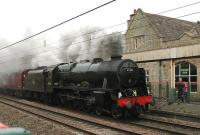 A late substitute for 45699 <I>Galatea</I>, 46115 <I>Scots Guardsman</I>, leaves Carnforth on 16 October with the northbound steam leg of a <I>Cumbrian Mountain Express</I> that had originated at Euston.<br><br>[Mark Bartlett 16/10/2013]