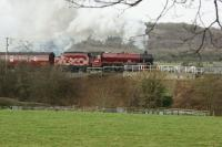 45699 <I>Galatea</I> passing below Warton Crags north of Carnforth on 1 February as it gets to grips with the second leg of the <I>Winter Cumbrian Mountain Express</I> to Carlisle.<br><br>[John McIntyre 01/02/2014]