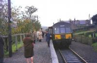 The last train prepares to depart from Coalburn, South Lanarkshire, on 2 October 1965.<br><br>[John Robin 02/10/1965]