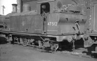 Fowler 3F 0-6-0T 47512 standing alongside Aintree shed in April 1962.<br><br>[K A Gray 14/04/1962]