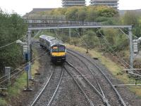 The 11:10 service to Cumbernauld passes the SPAD signal [see image 33386] on 6 October approaching the single lead Bellgrove Junction. It is about to pass under the Reidvale Street pedestrian overbridge with its wire netting cover.<br><br>[Colin McDonald 06/10/2014]