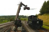 Baldwin no 2 being coaled by hydraulic grab outside Pant on the Brecon Mountain Railway. See image [[48358]]<br><br>[Ken Strachan 24/08/2014]