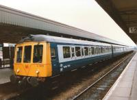A <I>Valley Train</I> branded DMU waits at Cardiff Central platform 6 in 1988 with the next service to Rhymney.<br><br>[Ken Strachan //1988]
