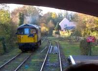 Crompton 33110 runs round a BLS brake van special at Boscarne Junction on 29 November 2014. Notice the Camel Trail footpath and cyclepath to the right: the trackbed ahead leads to Wadebridge [see image 35696] and Padstow.<br><br>[Ken Strachan 29/11/2014]
