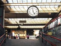 A 'brief encounter' with the famous station clock at Carnforth on 7 August 2014. <br><br>[Bill Jamieson 07/08/2014]