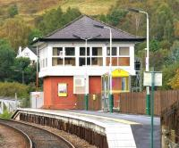 The signalling centre at Banavie, looking west along the platform in September 2005.<br><br>[John Furnevel 28/09/2005]