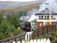 <i>The Jacobite</i> crossing the swing bridge into Banavie station on 25 September 2005 on its way back from Mallaig to Fort William.<br><br>[John Furnevel 25/09/2005]
