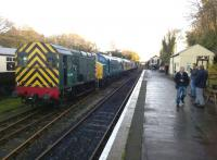Variety is the spice of life: diesel locomotives from classes 08, 37, 47, and 33 lined up at Bodmin General in November 2014. The enthusiasts on the right had just been refuelled with genuine Cornish pasties.<br><br>[Ken Strachan 29/11/2014]