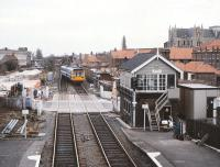View south from Beverley station on 25 March 1989. 142085 is using the crossover to go right line heading back to Hull.<br><br>[Peter Todd 25/03/1989]