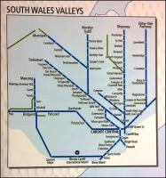 This schematic of the Valley Lines (on an NEC stand belonging to the Welsh inward investment trade body) shows Cwmgrach, Tower Colliery, Cwmbargoed, Machen, Ford Bridgend, and the freight line South-West of Tondu. Gwaun-cae-Gurwen is out of view to the West, while Uskmouth and Glascoed would be shown to the East. Notice also the recently opened stations at Energlyn and at Rogerstone - Ebbw Vale Town clearly wasn't opened quite soon enough.<br><br>[Ken Strachan 12/05/2015]