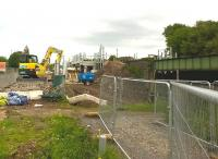 The former Bermuda Park viewpoint - the brick shed just visible within the excavator's arm - has now been fenced off, so it's back to Northbound views at this new station on a Nuneaton industrial estate on 31 May 2015. Useful progress has been made over the past three months [see image 50694].<br><br>[Ken Strachan 31/05/2015]
