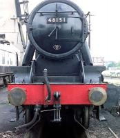 Head-on view of Stanier 8F 2-8-0 48151 at Carnforth in the early 1990s [see image 52286]. <br><br>[John Steven //]