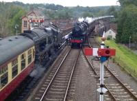 Steam services crossing at Bewdley on 26th August. The service on the left is for Bridgnorth, that on the right for Kidderminster. Despite taking a wrong turn, I had comfortably outpaced the latter in my car from Highley.<br><br>[Ken Strachan 26/08/2015]