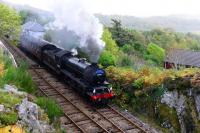On the penultimate day of the 2015 Jacobite steam service, K1 2-6-0 62005 makes a spirited start away from Arisaig heading for Mallaig. Arisaig is the westernmost station on the UK rail network.<br><br>[John Gray 23/10/2015]
