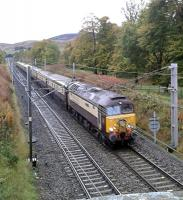 The Northern Bell on a Manchester Victoria to Edinburgh excursion approaches Abington taken on Saturday the 24th of October.<br><br>[Alastair McLellan 24/10/2015]