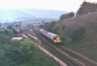 A Swindon Inter City Class 123 takes the Hope Valley route through Chinley North Junction in 1978. These sets had been made redundant on the Western Region the previous year and were transferred to Hull Botanic Gardens to work turn about with the similar Trans-Pennine sets. Final withdrawal and scrapping came in 1984.<br><br>[Mark Bartlett //1978]