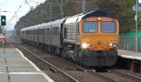 GBRf class 66 66735 top and tailed with 66732 heading the Royal Scotsman through Barassie to Ayr in May 2015. This was during the period when the West Coast Railway Co was banned due to a S.P.A.D. incident in the West Country.<br><br>[Ken Browne 03/05/2015]