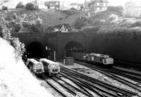 A lot of things have changed since I took this picture West of Newport station in 1987. The sidings on the left are still there, but rather overgrown; and sadly, you won't see 37's on steel trains any more.<br><br>[Ken Strachan /08/1987]