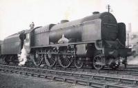 Unrebuilt Royal Scot 46137 <I>The Prince of Wales^s Volunteers (South Lancashire)</I> on shed at Polmadie in the summer of 1949.