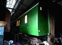Down in the carriage shed, something stirred - the mystery being, why would the GC have a Southern Region coach? See image [[12077]] - the answer, apparently, being that this is a DMU coach, and the Southern green is an undercoat for a dark green final coat.<br><br>[Ken Strachan 27/02/2016]