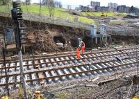 Track renewal taking place between the Queen Street High Level Tunnel and Cowlairs South Junction during the period of closure of Queen Street High level station.<br><br>[Colin McDonald 29/03/2016]