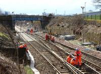 View south to the Fountainwells bridge as track renewal takes place during the period of closure of Queen Street High level.<br><br>[Colin McDonald 29/03/2016]
