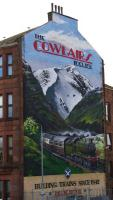 The 'Cowlairs Incline' mural on Endrick Street displays some artistic licence in celebrating the railway history of Springburn.<br><br>[Colin McDonald 19/03/2016]