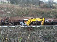 Redundant ballast being loaded onto works train.<br><br>[Martin MacGuire 21/03/2016]