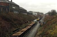 Busy works traffic on Cowlairs Incline - several PW trains stacked on the up main.<br><br>[Martin MacGuire 01/04/2016]
