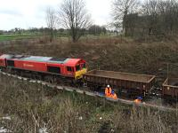 DBS 66114 patiently awaits loading with spoil from trackside drainage excavations.<br><br>[Martin MacGuire 02/04/2016]