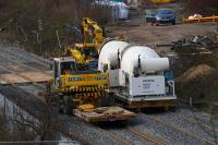 Rail mounted cement mixers and Road/Rail Vehicles parked at the Keppochhill Drive/Fountainwells access point on 15th April 2016.<br><br>[Colin McDonald 15/04/2016]