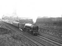 The up <I>Queen of Scots</I> Pullman climbing Cowlairs Incline on 5 May 1956. Locomotive in charge is A2 Pacific 60535 <I>Hornet's Beauty</I>, with N15 0-6-2T 69188 working hard at the rear. <br><br>[G H Robin collection by courtesy of the Mitchell Library, Glasgow 05/05/1956]
