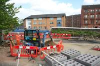 The site of the now-demolished Gourlay Street bridge over the Cowlairs Incline as abutments are rebuilt and new parapets are constructed.<br> (My thanks to the residents who were replacing their 3 piece suite which helped me take photos over the fence).<br><br>[Colin McDonald 30/05/2016]