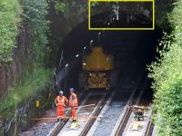 Installation of signalling equipment at the north portal of the Queen Street High Level Tunnel on 21st July 2016. Just visible in the highlighted area is the tunnel's OHLE conductor bar recently installed as part of the EGIP electrification work. <br><br>[Colin McDonald 21/07/2016]