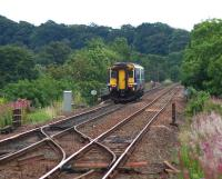 A clear pre-electrification view from Cleland station as 156462 on a limited stop service from Glasgow Central to Edinburgh via Shotts crosses the Cleland Viaduct. Vegetation clearance has been carried out and work to modify and replace overbridges is in progress (August 2016).<br><br>[Colin McDonald 26/08/2016]