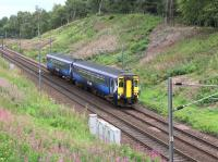 ScotRail 156442 has just passed the site of the former Carnwath station on the approach to Carstairs East Junction on 31 August 2016. The train is 1D53, the 1019 Edinburgh Waverley - Glasgow Central. [Ref query 16442] <br><br>[John Furnevel 31/08/2016]