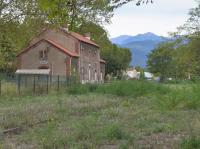 The abandoned station and yard at Ceret, present end of the line which formerly reached Arles sur Tech and which was closed by storm damage in 1939. 16 October.<br><br>[Bill Roberton 16/10/2016]