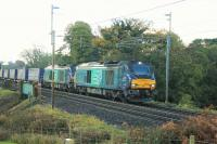 68020 <I>Reliance</I> and 68016 <I>Fearless</I> take the Daventry to Mossend <I>Tesco</I> train north through Bay Horse on 7th November 2016. Double headed 68s have become the regular motive power on this train during 2016.<br><br>[Mark Bartlett 07/11/2016]