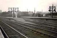 View over the north end of Buchanan Street station in the spring of 1949. Nearest the camera is Black 5 44704 preparing to leave with a train for Inverness, while over in platform 1 is 0-4-4T 55146.  <br><br>[G H Robin collection by courtesy of the Mitchell Library, Glasgow 26/04/1949]