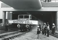 A 47 breaks a banner on the reopening of Snow Hill in 1987. The station had closed in 1972 being demolished in 1977.<br><br>[Ian Dinmore 05/10/1987]