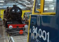 NBL products of 1942 and 1960 face each other in the Scottish Railway Museum (Stanier 8F and AL4 electric).<br><br>[Bill Roberton 04/10/2016]