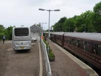 Bus-rail integration at Arisaig on 11th June 2016 - but only for particularly well-off rail passengers.<br><br>[David Spaven 11/06/2016]